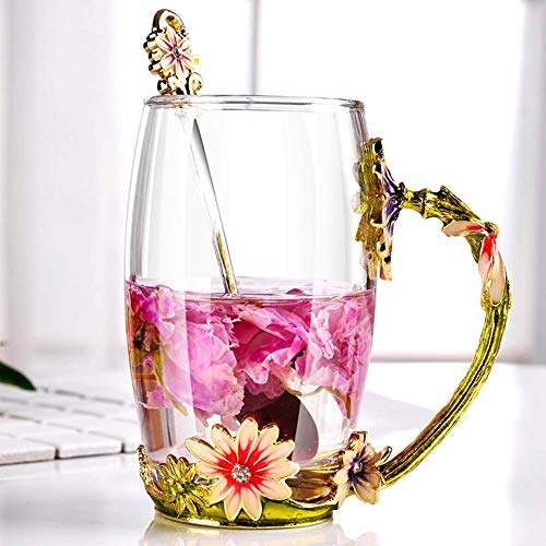 Glas Teetasse, Emaille Chrysantheme Bl¨¹Ten Schmetterlinge Becher Kristallglas Klare Tasse Blumen Blumenglas Kaffeebecher mit sch?n Handgriff L?ffel f¨¹r Frauen, Geburtstag Valentinstagsgeschenk