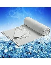 Marchpower sommarfilt mikrofiber - självkylande kyltäcke med japansk Q-Max 0,34 - cool och mysig -2 i 1 dubbelsidig mjuk kuddfilt levande filt sofffilt resefilt (200 * 220 cm grå)