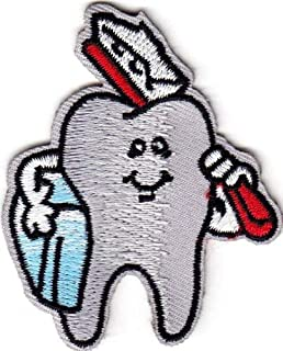 KHUNPATCH Tooth w/Toothbrush - Dental - Profession - Medical - Iron on Embroidered Patch