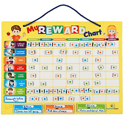 HomeN'Stars Reward Chart - Kids Chore Chart - Behavior Charts for Kids at Home - 60 Chore Tags, Multiple Kids, Sturdy Magnet or Hang on Wall