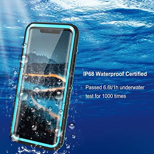 Lanhiem für Huawei Mate 20 Pro Hülle, IP68 Zertifiziert Wasserdicht Handy hülle 360 Grad Schutzhülle, Stoßfest Staubdicht und Schneefest Outdoor Schutz mit Eingebautem Displayschutz - Blau - 3