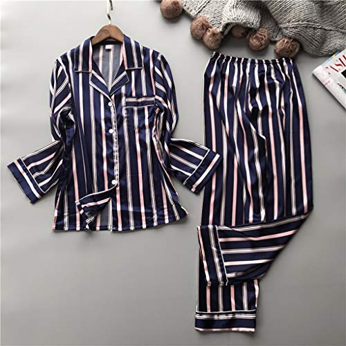 WALNUT Moda Mujeres Stripe Vertical Rayon Rayon Pajama Set F