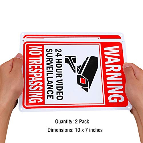 Video Surveillance Sign Outdoor Metal Indoor Security Camera Signs for Property Under 24 Hour Hr Warning No Trespassing for Home Business CCTV UV Protected Red Aluminum (2 Pack, 10 x 7 Inches)