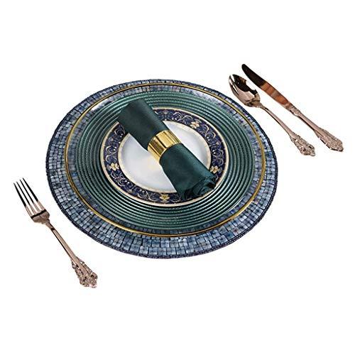 QTQZ Platos de cargador de vidrio servilletas doradas, manteles individuales para ensaladas, platos de postre, juego de vajilla europeo y americano, diseño de hotel, hogar, eventos, bodas, etc