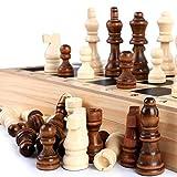 NO LOGO JNT- 32pcs de Madera Piezas de ajedrez de Madera del tamaño Grande de Las Piezas de ajedrez Conjunto Completo de Entretenimiento Ajedrez Juego de Mesa Antideslizante de la Franela Piezas 76MM