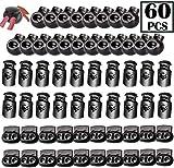 60 PCS Cord Locks Spring Stop Plastic Toggles for Drawstrings Non Slip Stopper Black 3 Types