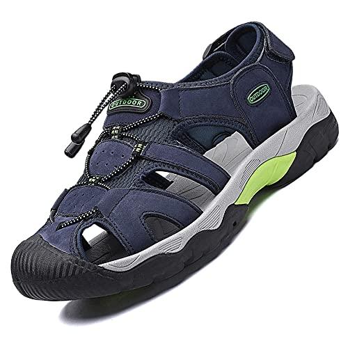 VTASQ Sandalias Deportivas para Hombre Verano Exterior Senderismo Zapatos Transpirable Peso Ligero Cuero Sandalias de Playa Trekking Casual Antideslizantes Zapatos de Montaña Azul 39-46