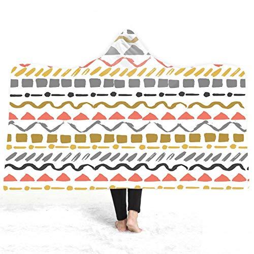 PANDAWDD deken knuffeldeken residentiële plafond Nordic abstract bont geometrisch heren dames 3D grappig kerst draagbare deken fleece deken knuffeldeken Tv-deken met capuchon voor volwassenen 150 x 200 cm