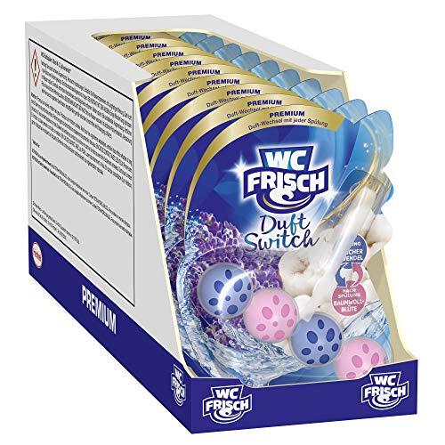 WC Frisch Duft Switch Frischer Lavendel & Baumwoll-Blüte, WC-Reiniger und Duftspüler, Duftwechsel, 10er Pack(10 x 50 g)