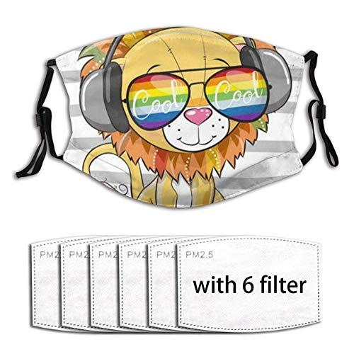 SfeatrutMAT Ma-sk - Protector bucal lavable con gafas de sol, diseño de león con suave transpirable al aire libre/deportes/motor/ciclismo para adultos