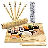 10 Piezas Kit de Sushi de Bambú, Kit de Sushi, Kit para Hacer Sushi, con 2 Tapetes, 5 Pares de Palillos, Cuchara de Madera, Bolsa de Palillos, para Hacer Sushi, Regalos