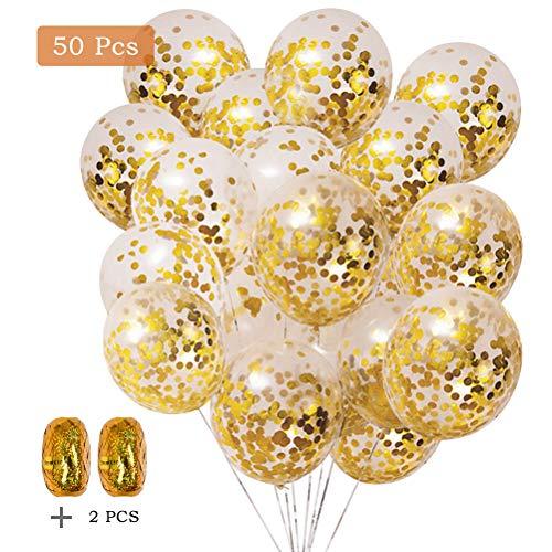 YOTINOGlobo de Confeti Globos de látex de Confeti Dorado Globos para Momentos Brillantes (50 Globos, 2 Rollos)