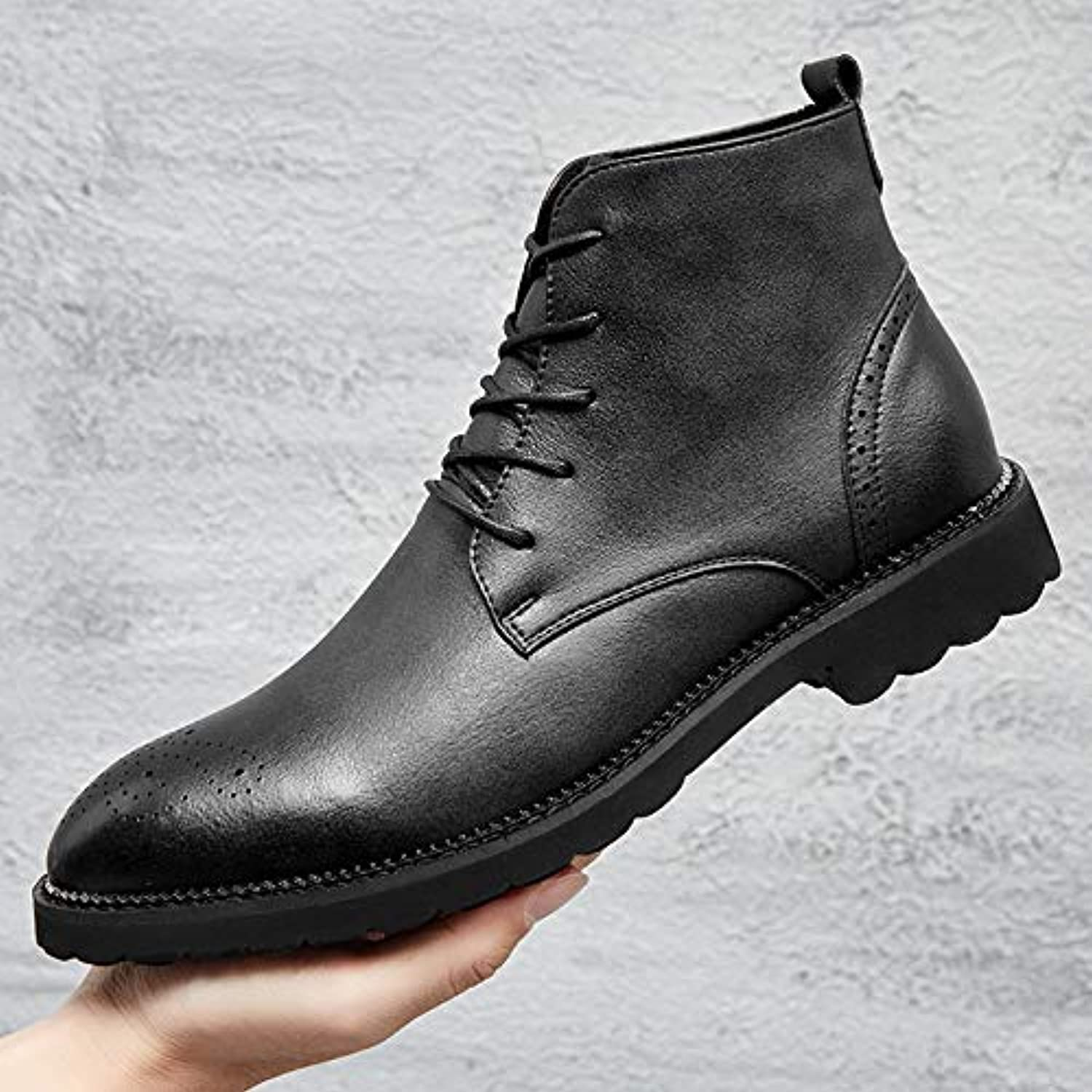LOVDRAM Men'S shoes Autumn High shoes Men'S Short Boots With Increased Leather Boots Pu Martin Boots Men'S Boots