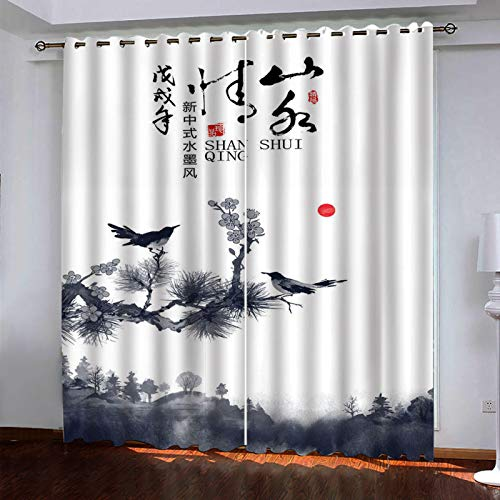 YUNSW 2-Piece Perforated Curtains, 3D Ink Painting Curtains, Decorative Curtains For Garden Living Room Bedroom Kitchen