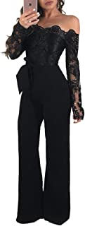Ophestin Women Sexy Off Shoulder Floral Lace Long Sleeve Bodycon Wide Leg Jumpsuits Rompers with Belt