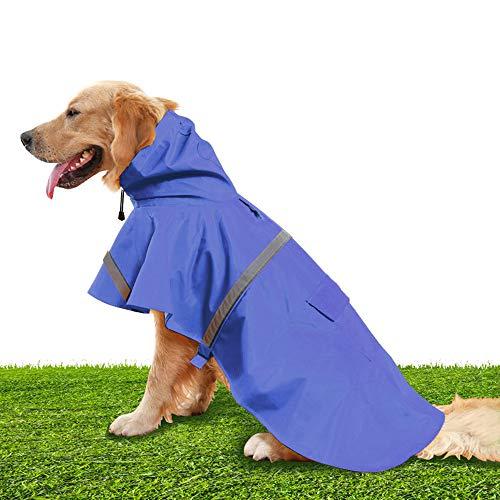 NINEMAX Bule Dogs Raincoat Medium, Adjustable Stylish Dog Hoodie Poncho with Safety Reflective Strip Design for Medium Large Dogs (M)