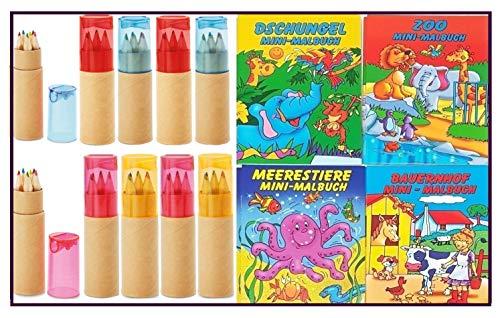Libetui Buntstifte 10 Sets mit Spitzer für Kinderparty Kinderbeschäftigung Zuhause Hort Kita Hochzeit Restaurant Geschenk mit Malbücher (Mehrfarbig)