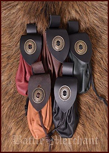 Grande bourse en cuir style moyen-âge avec fermeture en métal Porte-monnaie cuir Pochette Couleurs assorties, Rot