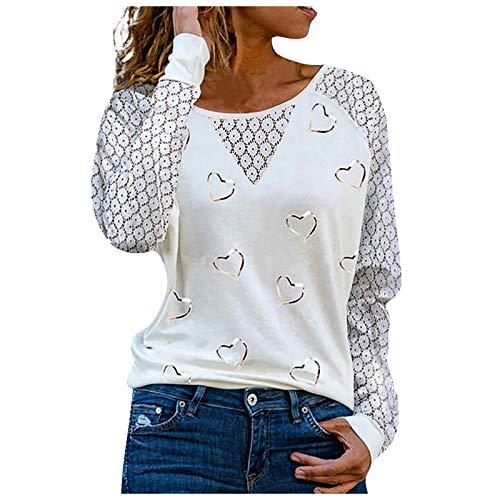 Damen Pullover Langarm V-Ausschnitt Herzen Drucken Bluse Tunika Tops,Frauen Casual Spitze Patchwork T-Shirt Sexy Oberteile Sommer Freizeit Slim Fit (M, White)