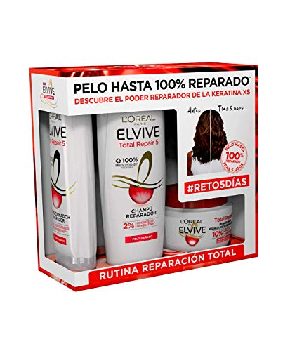 L'Oreal Paris Elvive Total Repair 5 Pack Reparación Total Champú Reparador 370ml y Mascarilla Reparadora 300ml y Acondicionador Reparador 300 ml