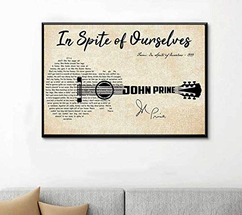 John Prine in Spite of Ourselves Lyric Song Canvas Print, Music Favorite Song Wall Art Home Decor, Gifts for Music Lover Gifts for Music Lover on Birthday, Chirstmas and Halloween 32x48