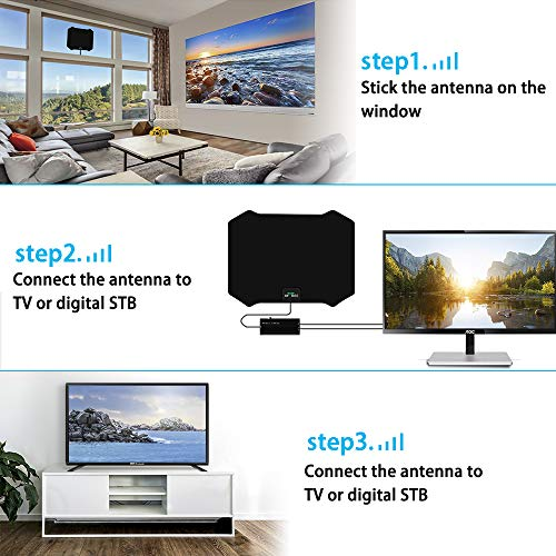 TV Antenna, Amplified HD Indoor Digital TV Antenna 200 Miles Long Range Signal Booster Support All 4K VHF UHF 1080p Indoor HDTV Television for Free Local Channels, 17ft Coax Cable