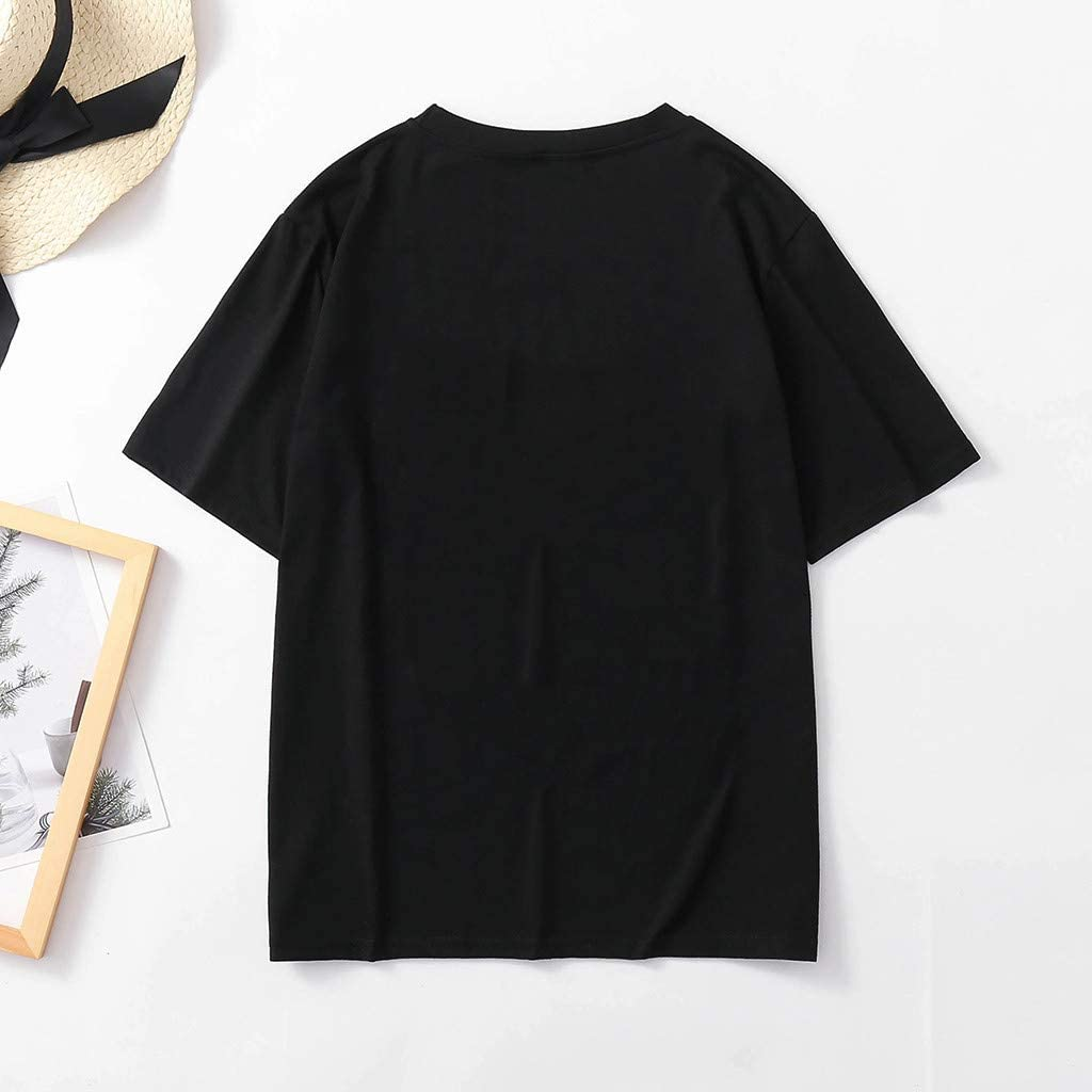 Drfoytg Womens Cute Cat Graphic Tees O-Neck Top Solid Casual T-Shirt Top Blouse