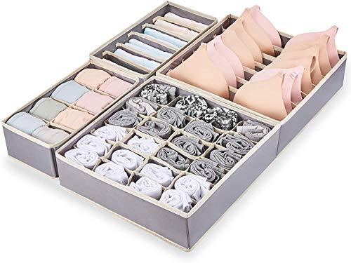 ChocoLife 4 Sets Unterwäsche-Schubladen-Organizer (grau), Oxford-Gewebe, Unterwäsche-Organizer, Schrank-Schubladenteiler für BHs, Socken, Krawatten, Schals, Taschentücher