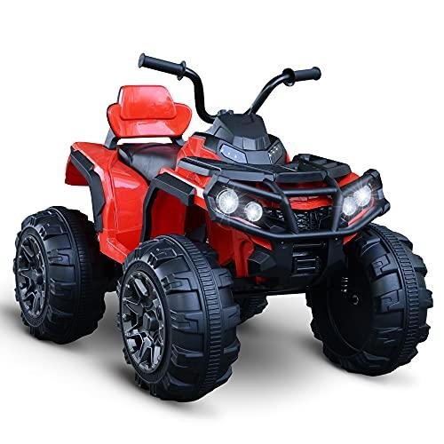 HOMCOM Voiture 4x4 Quad Buggy électrique Enfant 3 à 8 Ans Effets Lumineux Musique Lecteur MP3 Multifonction Rouge