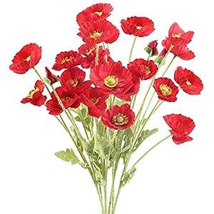 XHXSTORE 6pcs Flores Amapolas Artificiales Decoracion Ramo de Flor Roja Artificial Flores de Plastico para Jarrones Boda…