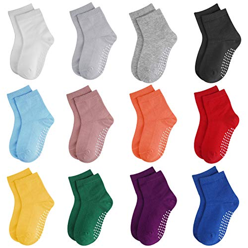 Licitn Calcetines Antideslizantes para Niños-12 Pares Calcetines de Algodón para Bebés Unisex para Cuatro Estaciones para Bebés de 12-36 Meses de 13,5cm