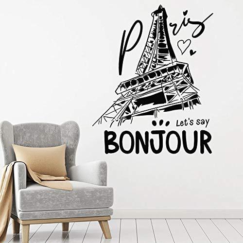 HGFDHG Bonjour calcomanías de Pared francesas París Francia Aita Puertas y Ventanas Modernas Pegatinas de Vinilo Sala de Estar Oficina decoración de Interiores murales