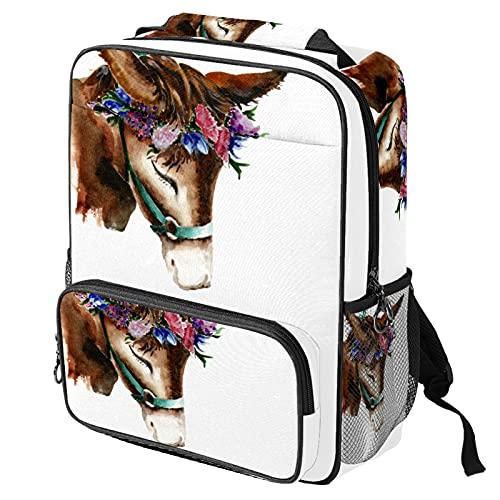 Mochila casual para computadora portátil, bolsa de trabajo de moda con impresión de burro de caballo de acuarela para mujeres/niñas/hombres