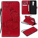nancencen Handyhülle Kompatibel mit Nokia 8.1 Plus / X71,Geldbörse PU Leder Flip Cover Schutzhülle Hülle Klapphalterungsfunktion -Einfarbig Schmetterling Rot