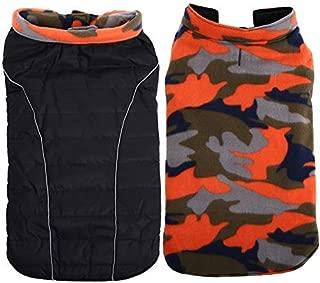 QBLEEV Reversible Dog Coat,Winter Autumn Pet Clothes Accessories for Large Medium Dogs, Black/Orange Camo Adorable Simple Design,Ideal for Samoye Husky Folden Retriver
