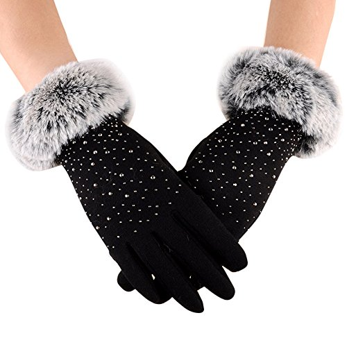 Geilisungren Damen Dressy Handschuhe Kunstpelzbesatz Manschette Thermofutterhandschuhe Warmes Fleece Dickere Touchscreen Handschuhe Outdoor Radsport Sport Winterhandschuhe