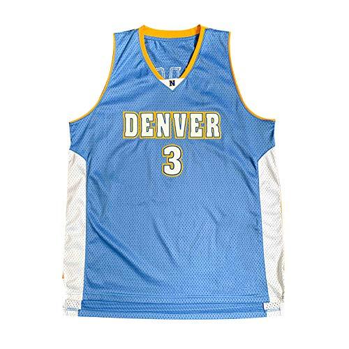 Herren Legende Basketball Trikot, Allen Iverson 3# Denver Nuggets Blumenstickerei Atmungsaktive Swingman Jersey Weste, 90S Hip Hop Kleidung T-Shirt Top für Party-M
