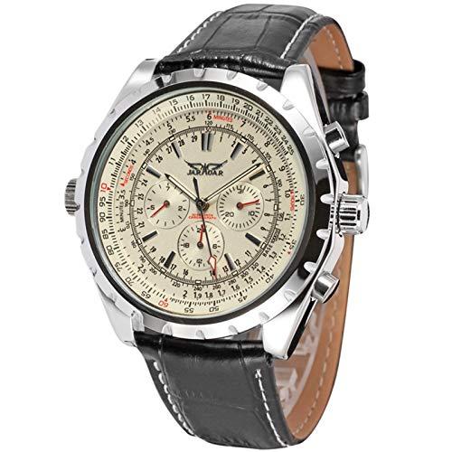 Flytise Automatische mechanische Herrenuhr mit Lederarmband-Mode-Armbanduhr-Kalender-Datumsanzeige