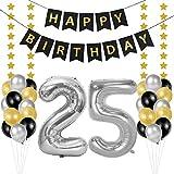Globos 25 Cumpleaños, decoracion 25 años, Happy Birthday Bandera Feliz Cumpleaños 25 Años, Número 25 Globos de Papel Plata para Hombres y Mujeres Adultos Oro Negro Decoración de Fiesta