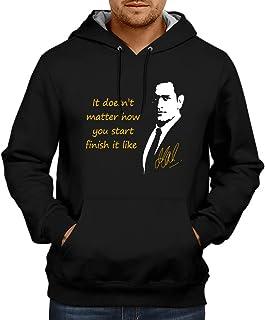 CUPIDSTORE Men's Sweatshirts - Cricket Hoodie - Finish it Like Dhoni Blue Black Hoodies for Mens