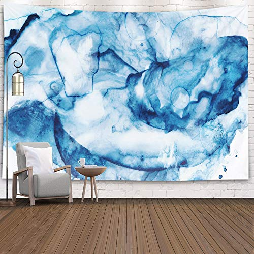 Navy-Blue Tapestry,Hanging Wall Tapestry,Capsceoll 80x60Inches Artistic watercolor background picture with stains strokes blobs bubbles blotchiness streaks For des Tapestry for Bedroom Living Room Dor