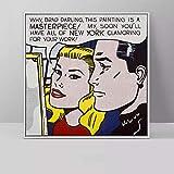 YRZYT Roy Lichtenstein Poster Vintage Hombre con Chicas Poster Pop Moderno Pared Arte Comic De La Lona Cuadros Roy Lichtenstein Famosos Pintura Dormitorio Decoracion Cuadro
