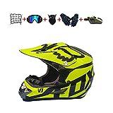 CJBYYBF Casco Motocross Niño, ECE Certificación Casco de moto para niños Downhill.Cascos de Cross de Moto Set con Gafas/Máscara/Red Elástica/Guantes (Amarillo, M:54-55 cm)