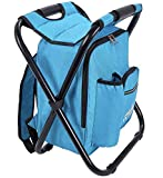 Outrav Backpack Cooler and Stool - Collapsible Folding Camping Chair and Insulated Cooler Bag with Zippered Front Pocket and Bottle Pocket – for Hiking, Beach and More (Light Blue)