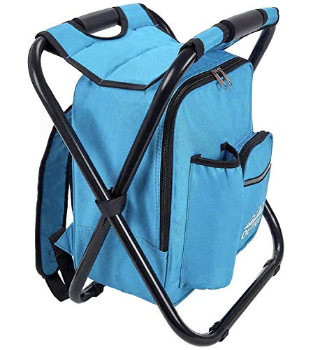 Backpack Cooler and Stool - Collapsible Folding Camping Chair and Insulated Cooler Bag with Zippered Front Pocket and Bottle Pocket – for Hiking, Beach and More - by Outrav (Light Blue)