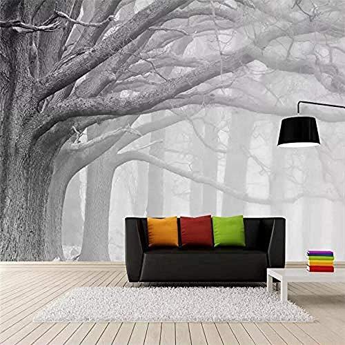 Vintage nostalgisch modern zwart-wit-bos boom-kunst-tv-achtergrond wandbehang voor kinder-S-kamer-slaapkamer wandpapier fotobehang 3d effect behang behang woonkamer slaapkamer 250 x 170 cm.