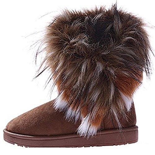 Minetom Damen Winter Schnee Stiefel Stiefeletten Warm Pelz Stiefel Schuhe (Camel 36)