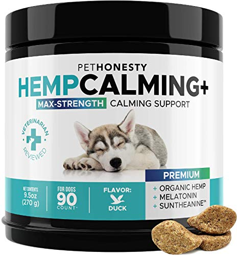 PetHonesty Premium Calming Hemp Treats for Dogs - All-Natural Soothing Snacks with Hemp + Valerian Root, Stress & Dog Anxiety Relief - Aids with Thunder, Fireworks, Chewing & Barking