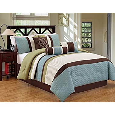 JBFF 7Piece Bed in Bag Microfiber Luxury Comforter Set, Queen, Sage/Coffee