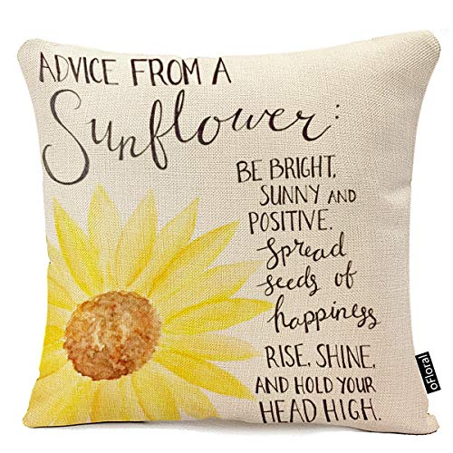 oFloral Decorative Advice from A Sunflower Print Throw Pillow Cases for Sofa Bedroom Pillow Covers Gift Household Pillowcase 18' X 18' (Only Pillowcase)